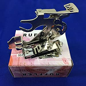 YEQIN Ruffler Foot (#55705) Sewing Machine Presser Foot for Singer Brother Juki Low Shank Sewing Machine (Pink Box) (Color: pink box)