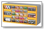 Yellow/Grey Plastic Parts Storage Drawers