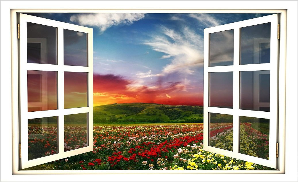 36 Window Scape Instant View Hillside Flower Garden at Sunset
