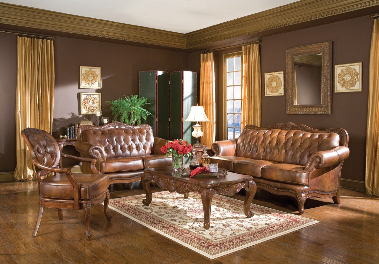 Inland Empire Furniture Reilly Classic Cognac Tri Tone Leather Sofa & Love Seat