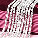Honbay 10 Yard Crystal Rhinestone Close Chain Trim Sewing Craft 2.5mm Silver Color (Clear) (Color: clear)