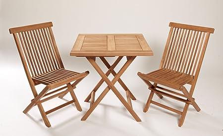 Teca de alta calidad Set 3Piezas Mesa plegable con dos sillas plegables. Muebles de teca Madera de Teca Balcón plegable Balcón Muebles de Madera