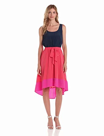 AGB Women's Sleeveless Colorblock Hi Low Hem Dress, Peach/Hot Pink, 6