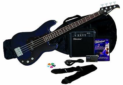 Silvertone LB11 Bass & Amp Package, Cobalt/Dark Blue
