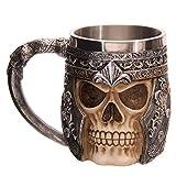 Agile-shop Stainless Steel Skull Mug 3D Design Creepy Skull Coffee Mug Skeleton Tankard Cup (Color: Steel)