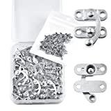 PGMJ 20 Pieces Thickened Solid Antique Right Latch Hook Hasp Horn Lock Wood Jewelry Box Latch Hook Clasp and 80 Replacement Screws (Silver) (Color: Silver, Tamaño: Small)