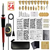 SthAbt - 55pcs Wood Burning Kit Set Adjustable Temperature Pyrography Pen Leather Stamping Art with Carving Embossing Soldering Tips Stencil for Beginner and Professionals