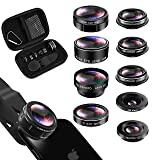 iPhone Lens Kit, Phone Lens for Andriod, KEYWING HD Cell Phone Lens for iPhone Xr, 7 Plus, 8 Plus, Xs max, Samsung. Macro+Telephoto Zoom+Fisheye+CPL+Wide Angle+Starburst+Kaleidoscope Lens (Color: Black, Tamaño: 9 in 1 phone lens)
