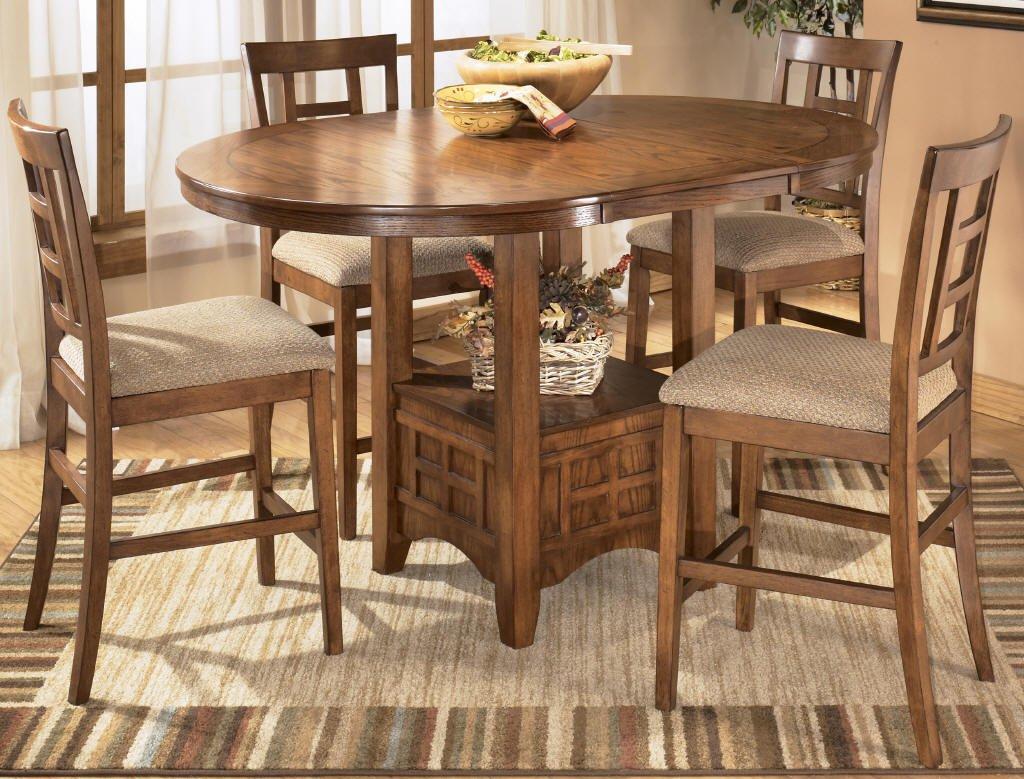 Cross Island Medium Brown Oak Stain 5 Piece Counter Height