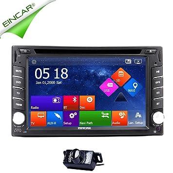 EinCar? Navigation GPS 6,2 pouces capacitif šŠcran tactile Double DIN En voiture Dash DVD Player avec le systššme GPS de soutien Bluetooth mains GPS gratuit Dual Zone gratuit Carte