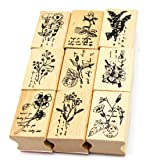 Youkwer 9 Pcs Classical Plants and Flowers Style Beautiful Wooden Rubber Stamps DIY Diary Scrapbook Stamps Set(Set of 9 Different Plants) (Color: Plants)