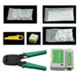 7 in 1 Network Tool Repair Kit - Cable Connectors Crimper, Network Cable Tester,Network Wire Stripper,RJ45 Connector Plug,Ethernet Connector,Nylon Cable Ties,Cable Cord Holder Clips