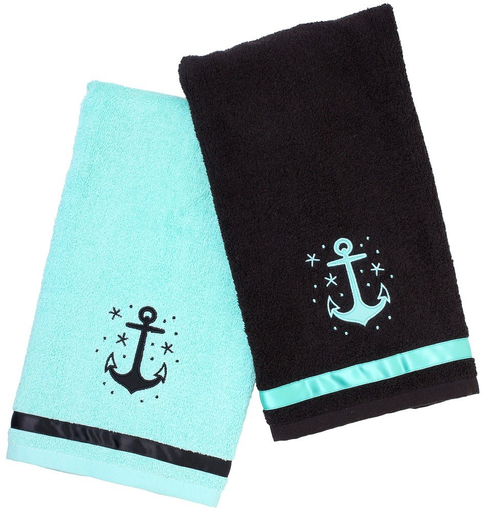 Anchor bathroom decor - This Super Soft Terry Cloth Anchor Bathroom Hand Towel Set From Sourpuss Clothing Compliments Any Ship Or Home Bathroom 17 X 28