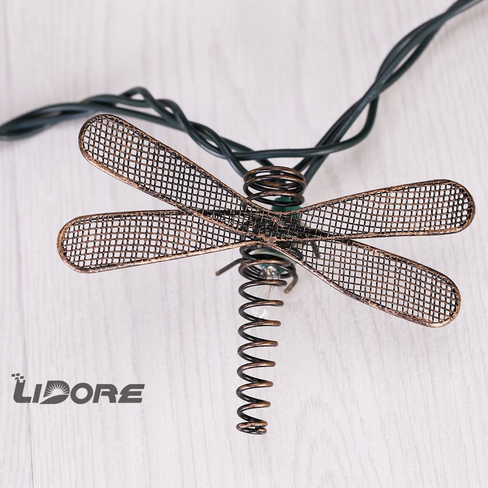 LIDORE Set of 10 Metal Dragonfly Patio String Light. Ideal For Indoor/Outdoor Decoration. Warm White Glow. 5