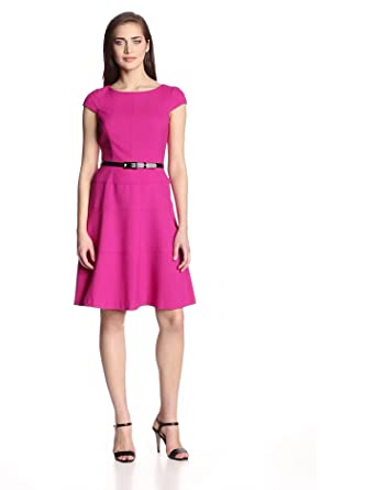 Anne Klein Women's Cap-Sleeve Solid Dress, Peony, 4 at