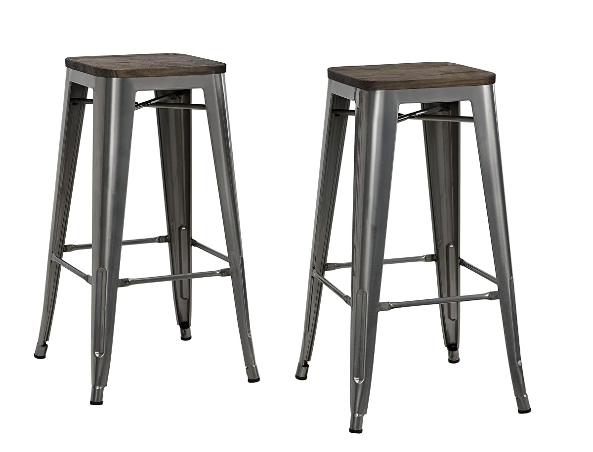 "DHP Fusion Metal Backless 30"" Bar Stool with Wood Seat, Distressed Metal Finish for Industrial Appeal, Set of two, Antique Gun Metal"