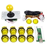 Gamelec Arcade Game Buttons and Joystick Controller Kit for Raspberry Pi and PC Games,1x 5 Pin Joystick and 10x LED Illuminated Push Buttons DIY Kits for Mame,PC and Raspberry Pi 2 3 (Yellow) (Color: Yellow)