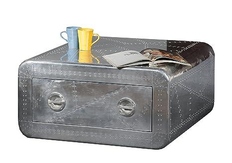 SIT-Möbel 1780-21 Couchtisch Airman, 1 Schublade, Metallauszug mit Zierschrauben versehen, circa 80 x 80 x 40 cm