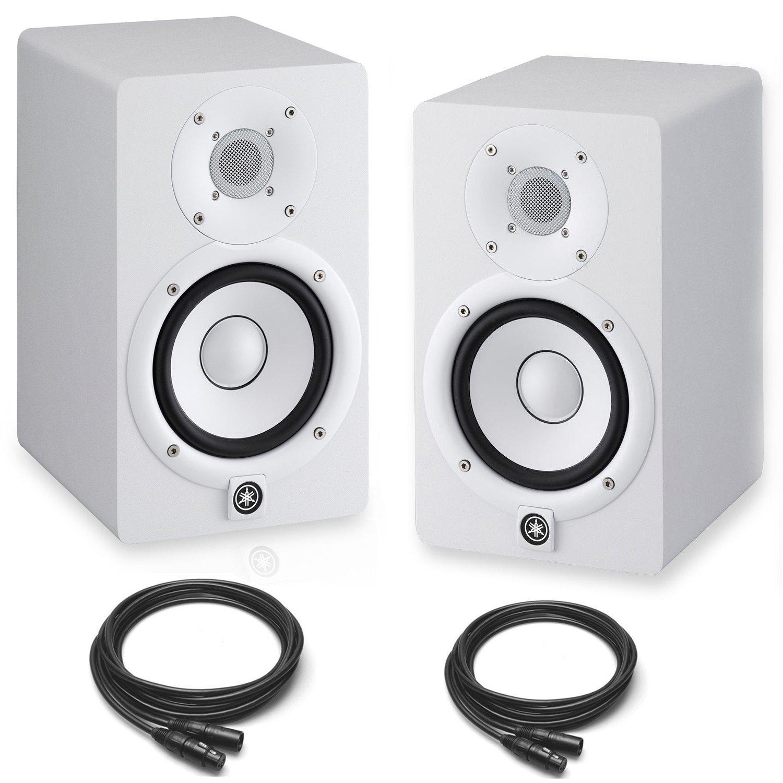 Yamaha HS7 Powered Studio Monitors Pair White w/ XLR Cables - Bundle колонка yamaha hs7 black