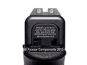 Fixxxer Rear Cover Plate Glock (Revelation 6:8 Design) Fits Most Models (Not G42, G43) Generations (Not Gen 5) (Tamaño: GLOCK)