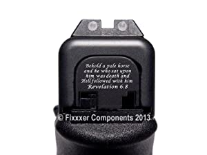 Fixxxer Rear Cover Plate Glock (Revelation 6:8 Design) Fits Most Models (Not G42, G43) Generations (Not Gen 5) (Tamaño: GLOCK)