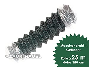 Maschendrahtzaun  Geflecht Höhe 150 cm x 25 Meter GP/m 3,14 EUR  GartenRezension