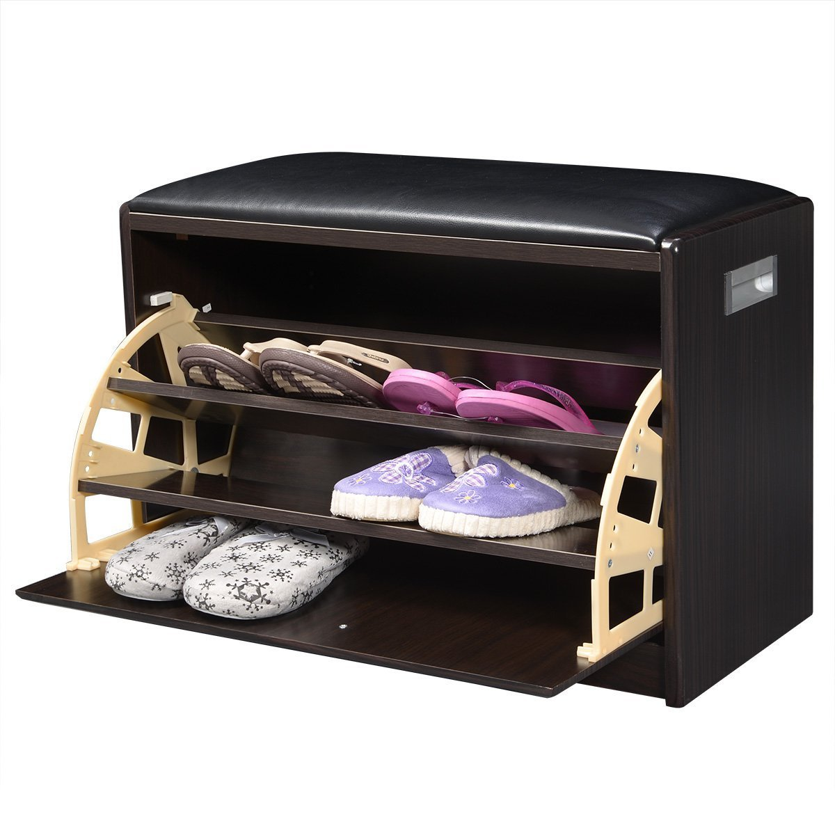 Giantex Wood Shoe Storage Cabinet Bench Ottoman Closet Shelf Entryway Pu Leather Seat