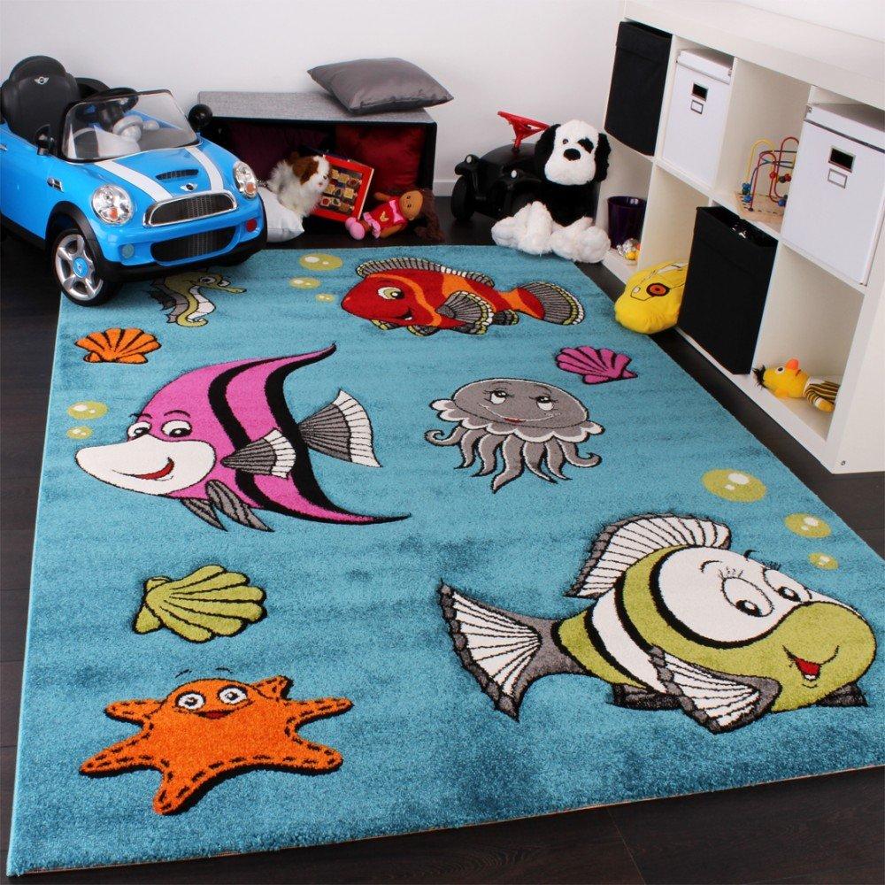 Kinderteppich Klaunfisch Unterwasserwelt Design Türkis Blau Grün Creme Pink, Grösse120x170 cm    Rezension