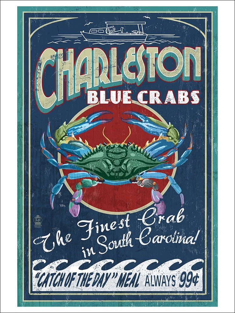 Charleston Blue Crabs Vintage Sign
