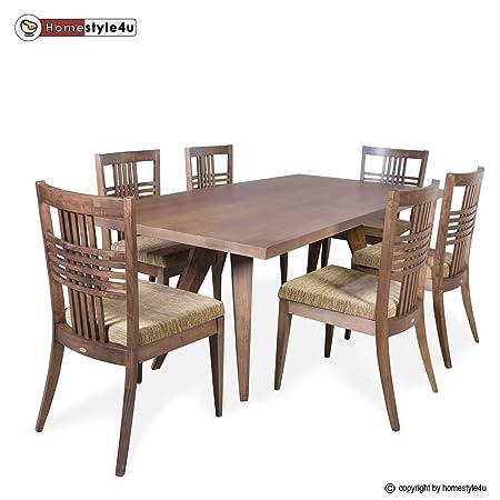 Homestyle4u Esstisch Essgruppe 6 Stuhle Dining Set Tisch Esszimmer Stuhl Tischgruppe dunkelbraun