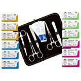 NEW 22 Pack (12 Pcs) Mixed Training Suture Threads with Needle Plus (10 Pcs) Tools for Students Suture Kit, Practice Suturing with Stitch Pads; Veterinary Use; Medical, Biology and Anatomy Classes