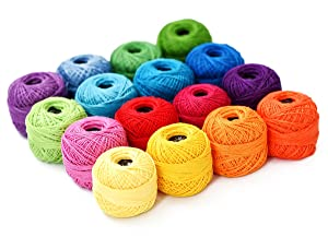 Thread Floss Sewing Soft 10g Cotton Balls Rainbow Colors of Size 8 Perle pearl Cotton Threads for Crochet Hardanger Cross Stitch Needlepoint Hand Embroidery All Different Colors (Suit 8) (Color: Suit 8, Tamaño: 19×19×4cm)