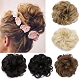Bun Updo Hairpiece Extensions Scrunchie Scrunchy Bun Up Do Hair piece Hair Ribbon Ponytail Extension Wavy Curly for Women(hair bun, sandy blonde&bleach blonde)