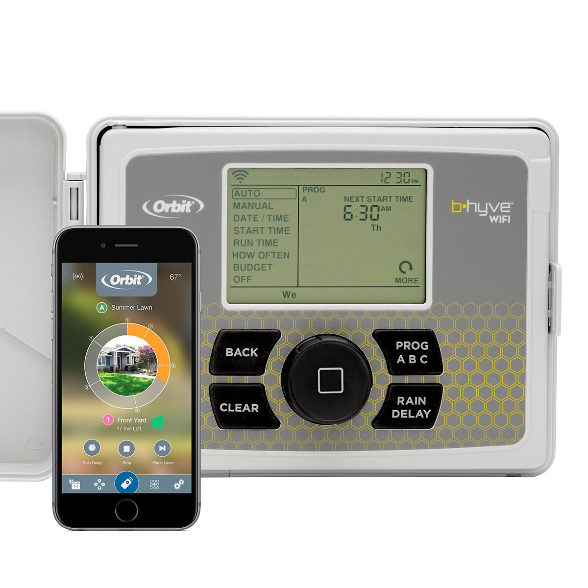 Orbit 57950 B-hyve Smart Indoor/Outdoor 12-Station WiFi Sprinkler System Controller, Compatible with Alexa