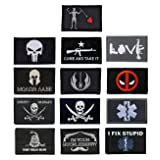Antrix 13 Pieces Punisher Dont Tread On Me Black Pirate EMT Medical Tactical Morale Patch Full Embroidery Military Patch Set for Caps,Bags,Backpacks,Clothes,Vest,Military Uniforms,Tactical Gears Etc (Color: 13 pack tactical patch)