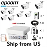 Kit 2MP Epcom Movil-Vision 8 Channel DVR,8 Bullet Cam,2TB HDD Hik-Connect