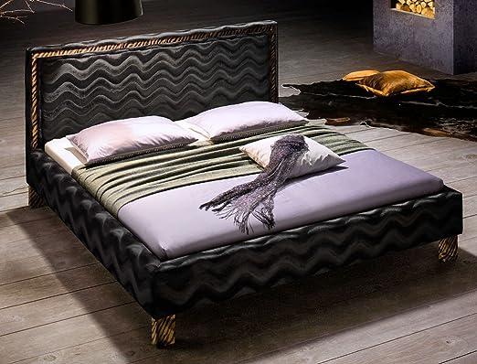 Polsterbett Cassio Bett 180x200cm schwarz Stoffbezug Doppelbett Ehebett Designerbett Gästebett