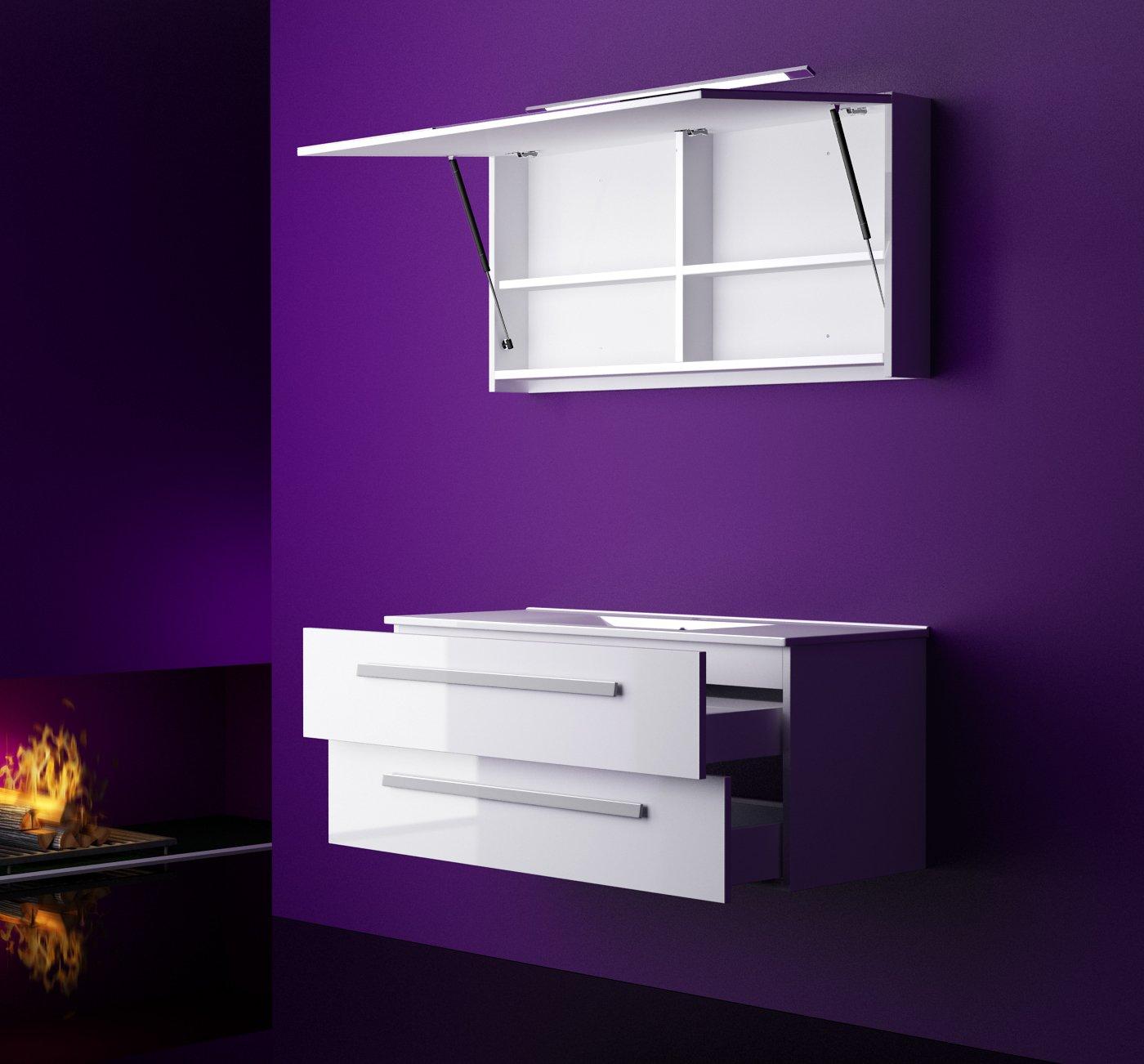Badmöbel set Atlantis Hochglanz/Weiß Korpus Weiß Lackiert 60cm besteht aus Spiegelschrank mit Beleuchtung, Waschbeckenunterschrank und Keramik Waschbecken (Weiß)  Bewertungen und Beschreibung