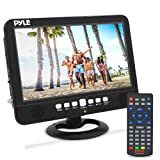 10 inch Portable Widescreen TV - Smart Rechargeable Battery Wireless Car Digital Video Tuner, 1024x600p TFT LCD Monitor Screen w/Dual Stereo Speakers, USB, Antenna, Remote, RCA Cable - Pyle PLTV1053 (Color: Black, Tamaño: 10 inches)