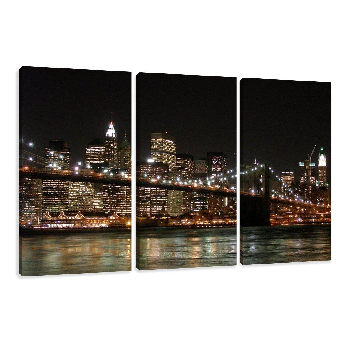 Cuadros en Lienzo Nueva York 160 x 90 cm modelo Nr. 1008 XXL Las imágenes estan listas, enmarcadas en marcos de Madera auténtica. El diseño de la impresión artística como un Mural enmarcado.  Electrónica Comentarios de clientes y más información