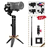 FeiyuTech Feiyu G6 Plus 3-Axis Handheld Stabilizer Gimbal for Canon Mirrorless Cameras, GoPro Hero 6 5 4 Action Cameras, iPhone Samsung Huawei Smartphones, Max Load 800g, w/Phone Clip, Extension Clip
