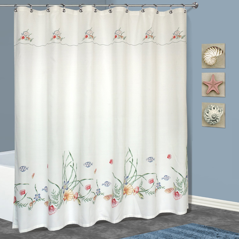 Amazing United Curtain Seashell Shower Curtain, 70 By 72 Inch, Multi Design