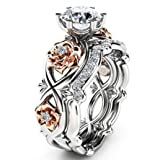 HIRIRI Hot Sale 2018 New Women Diamond Silver & Rose Gold Filed Silver Wedding Engagement Floral Ring Set (9, Silver) (Color: Silver, Tamaño: 9)