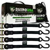 RHINO USA Ratchet Straps (4PK) - 1,823lb Guaranteed Max Break Strength, Includes (4) Premium 1