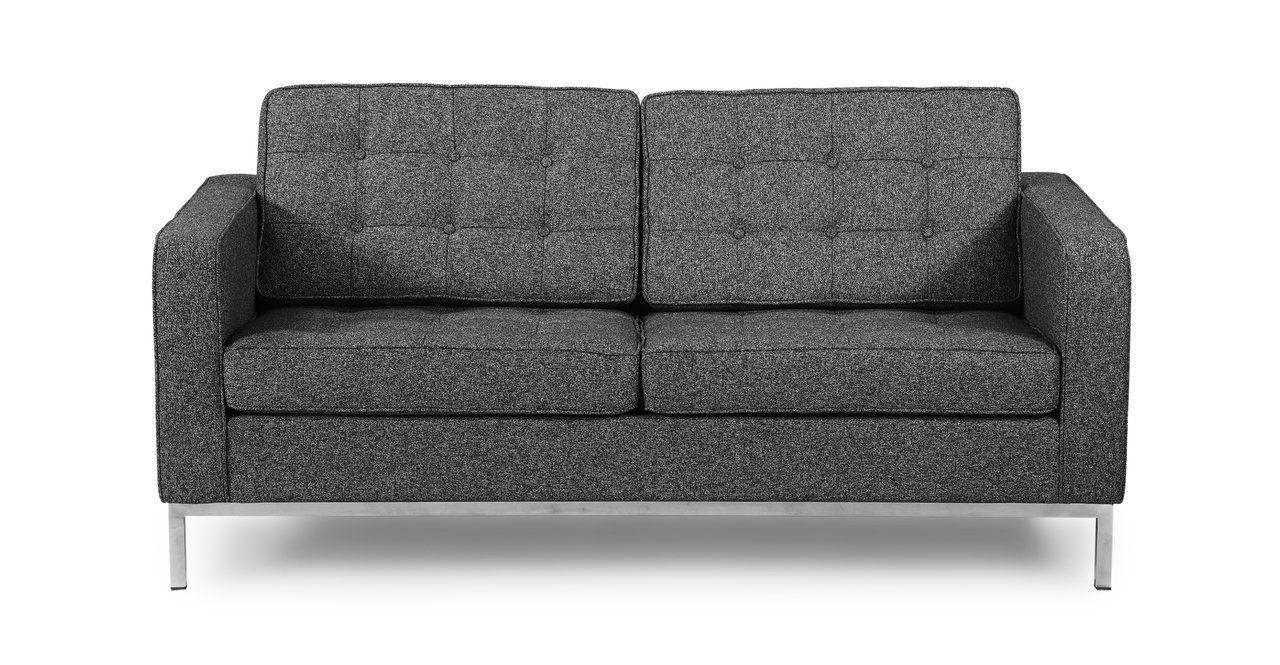 Kardiel Florence Knoll Style Loveseat - Carbonite Houndstooth Twill