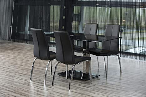 4 x CHROME MODERN KITCHEN CHAIR dining chair black PU Leather Look