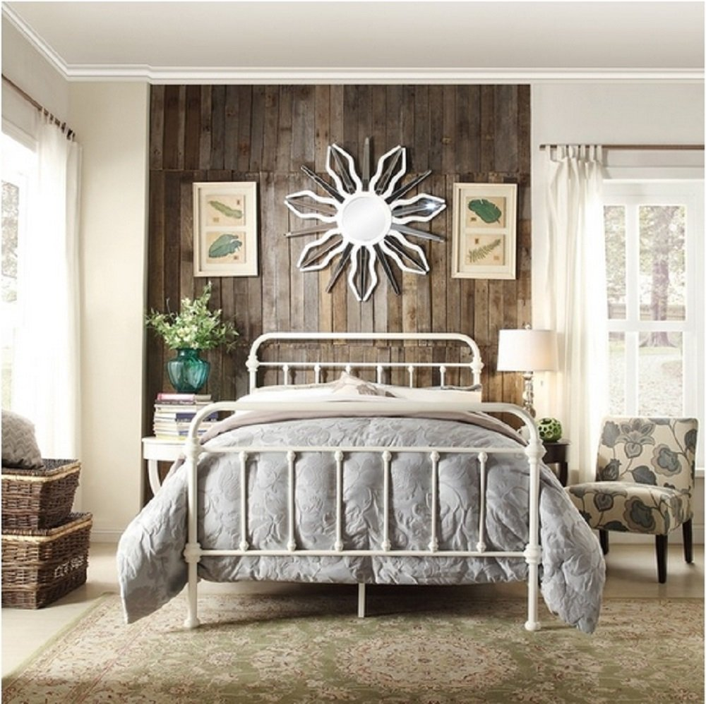 Giselle Antique White Graceful Lines Victorian Iron Metal Bed - Full Size 0