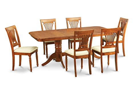 East West Furniture NAPL7-SBR-C 7-Piece Dining Table Set