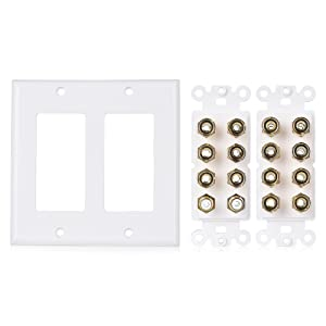 Cable Matters Double Gang 7.2 Speaker Wall Plate (Home Theater Wall Plate, Banana Plug Wall Plate) in White