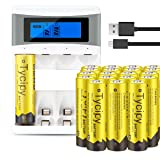Tycipy 20 Pack 1.2V 2800mAh Rechargeable Ni-MH AA Batteries and 4 Bay AA AAA Battery Charger (Color: Yellow, Tamaño: 20 pack + charger)
